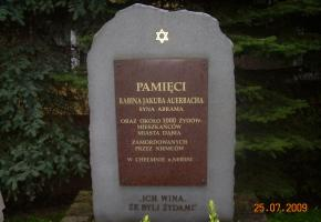 Monument commemorating the rabbi and Jews