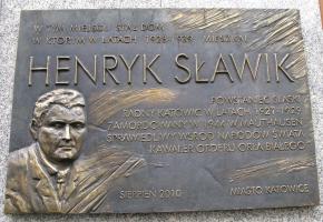 Tablica pamiątkowa ku czci Henryka Sławika w Katowicach (Rynek 13)