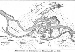 Plan sytuacyjny Wrocławia przed najazdem Mongołów w 1241