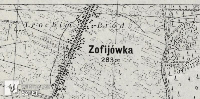 Zofijówka. Kadr z mapy WIG 1:25000 (1938)