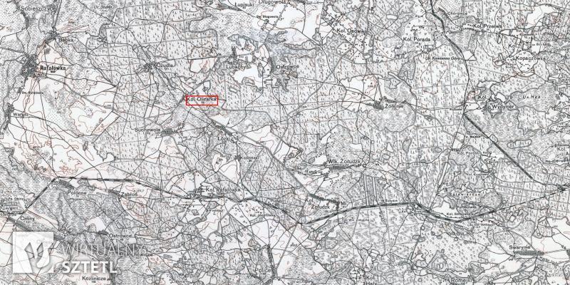Olizarka. Kadr z mapy WIG 1:100000 (1927)