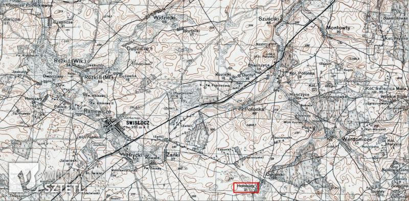 Hołobudy. Kadr z mapy WIG 1:100000 (1930)
