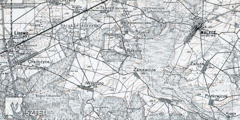 Malecz. Kadr z mapy WIG 1:100000 (1931)