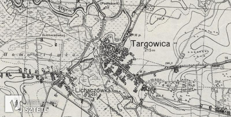 Targowica. Kadr z mapy WIG 1:100000 (1939)