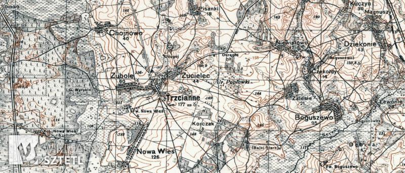 Trzcianne. Kadr z mapy WIG 1:100000 (1930)